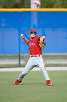 Philadelphia Phillies Austin Listi (24) throws back to the infield during an Instructional League game against the Toronto Blue Jays on October 7, 2017 at the Englebert Complex in Dunedin, Florida.  (Mike Janes/Four Seam Images)