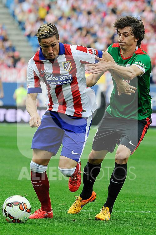 Atletico de Madrid´s Fernando Torres and Athletic Club´s Ander Iturraspe during 2014-15 La Liga match between Atletico de Madrid and Athletic Club at Vicente Calderon stadium in Madrid, Spain. May 02, 2015. (ALTERPHOTOS/Luis Fernandez)