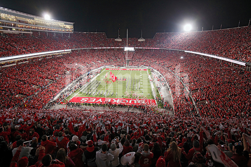 Ohio State football team enters the field before their game against Wisconsin Badgers during their NCAA college football game at Ohio Stadium, October 29, 2011. (Dispatch photo by Kyle Robertson)