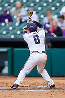 Kyle Bacak #6 of the Texas Christian Horned Frogs at bat against the Sam Houston State Bearkats at Minute Maid Park on February 28, 2014 in Houston, Texas.  The Bearkats defeated the Horned Frogs 9-4.  (Brian Westerholt/Four Seam Images)