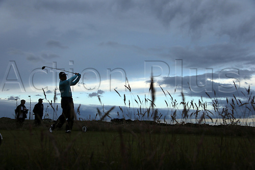 17.07.2015. St Andrews Old Course, Fife, Scotland.  Tom Watson of the United States tees off in the dark conditions on the 15th hole during the second round of the 144th British Open Championship at the Old Course, St Andrews in Fife, Scotland.
