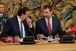 The Prime Minister Mariano Rajoy and the King Felipe VI of Spain converse during a royal audience with the board of the Carolina Fundation at Zarzuela Palace in Madrid, Spain. June 17, 2015.<br />  (ALTERPHOTOS/BorjaB.Hojas)