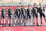 Mitchelton-Scott team at sign on in Fortezza Medicea before the start of Strade Bianche 2019 running 184km from Siena to Siena, held over the white gravel roads of Tuscany, Italy. 9th March 2019.<br /> Picture: Eoin Clarke | Cyclefile<br /> <br /> <br /> All photos usage must carry mandatory copyright credit (&copy; Cyclefile | Eoin Clarke)