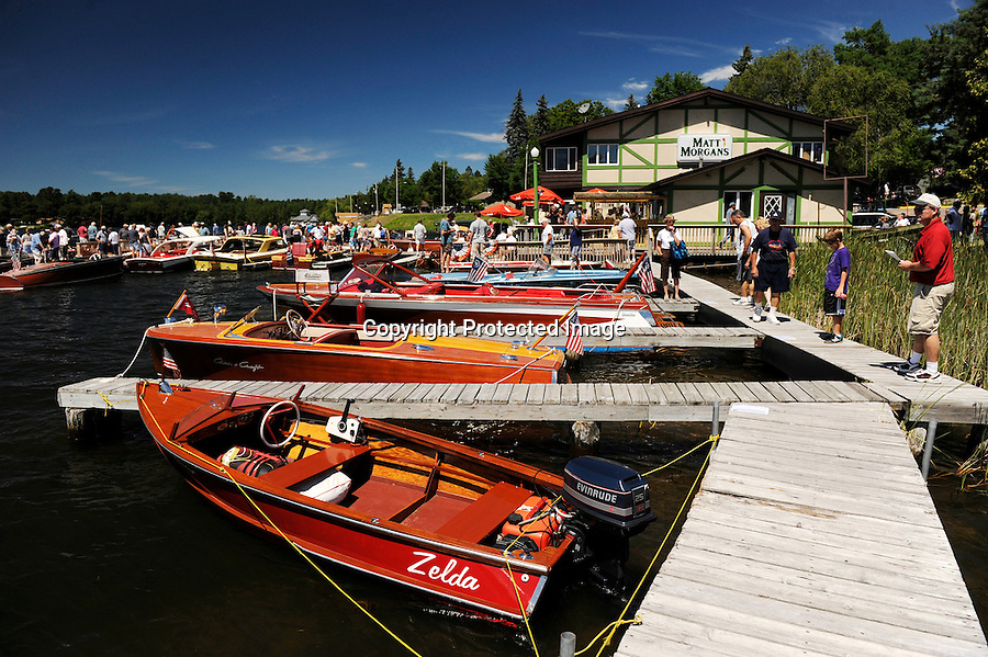 Antique and Wooden Classic Boat Show held at Minocqua,WI. Docked at Matt Morgan's piers, Lake Minocqua.