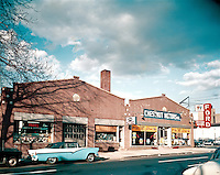 Chestnut Motors Ford Exterior of the Showroom from 1956. PA.
