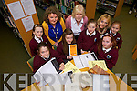 As part of the 50 year celebrations staf and pupils from Glenderry national school Ballyheigue uncovered some interesting research in Kerry COunty Library. From front l-r were: Mia Duggan, Emma O'Connell, Ava Griffin and Lorraine Kenny. BAck l-r were: Lauren Glennon, Mary Griffin (teacher), Bríd Cotter (Chair Board of Management), Teresa Christie (Parents Council) and Eve Roche Hussey.