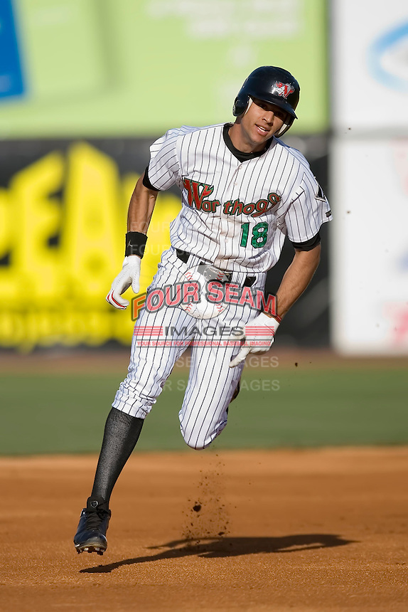 Paulo Orlando (18) of the Winston-Salem Warthogs hustles into third base with a triple during first inning action versus the Salem Avalanche at Ernie Shore Field in Winston-Salem, NC, Saturday, May 10, 2008.