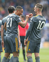 Leicester City's Youri Tielemans celebrates scoring the opening goal with team-mate James Maddison <br /> <br /> Photographer Stephen White/CameraSport<br /> <br /> The Premier League - Huddersfield Town v Leicester City - Saturday 6th April 2019 - John Smith's Stadium - Huddersfield<br /> <br /> World Copyright © 2019 CameraSport. All rights reserved. 43 Linden Ave. Countesthorpe. Leicester. England. LE8 5PG - Tel: +44 (0) 116 277 4147 - admin@camerasport.com - www.camerasport.com