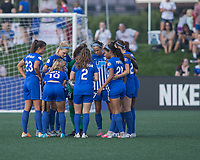 Allston, MA - Saturday August 19, 2017: Boston Breakers' starting eleven huddle during a regular season National Women's Soccer League (NWSL) match between the Boston Breakers and the Orlando Pride at Jordan Field.
