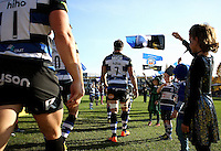Guy Mercer and the rest of the Bath Rugby team make their way out onto the field. Aviva Premiership match, between Bath Rugby and Harlequins on October 31, 2015 at the Recreation Ground in Bath, England. Photo by: Robbie Stephenson / JMP for Onside Images