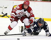 Luke Greiner (Harvard - 26), Antoine Laganiere (Yale - 28) - The Yale University Bulldogs defeated the Harvard University Crimson 5-1 on Saturday, November 3, 2012, at Bright Hockey Center in Boston, Massachusetts.