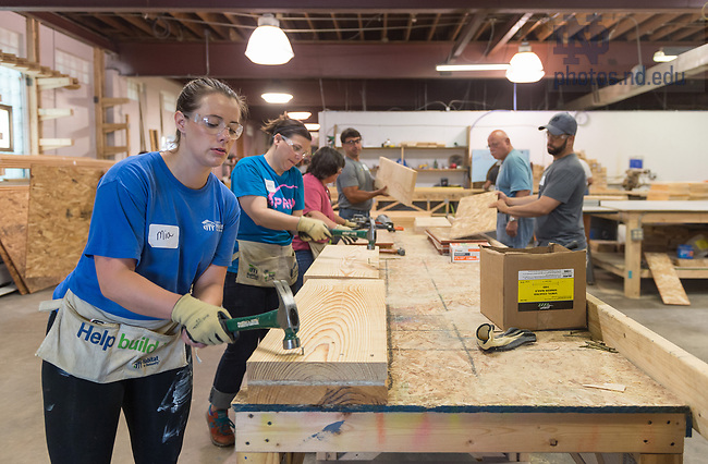 June 23, 2017; Division of Student Affairs staff partner with Habitat for Humanity to build a home for a local community member.  (Photo by Barbara Johnston/University of Notre Dame)