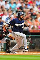 Apr. 30, 2011; Houston, TX, USA: Milwaukee Brewers first baseman Prince Fielder bats in the fist inning against the Houston Astros at Minute Maid Park. Mandatory Credit: Mark J. Rebilas-