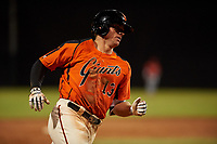 AZL Giants Orange Connor Cannon (13) rounds the bases after hitting a home run during a game against the AZL Angels at Giants Baseball Complex on June 17, 2019 in Scottsdale, Arizona. AZL Giants Orange defeated AZL Angels 8-4. (Zachary Lucy/Four Seam Images)