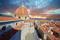 View of the Dome of the the Gothic-Renaissance Duomo of Florence,  Basilica of Saint Mary of the Flower; Firenza ( Basilica di Santa Maria del Fiore ), from the campinale.  Built between 1293 & 1436. Italy