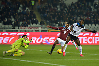 25th January 2020; Olympic Grande Torino Stadium, Turin, Piedmont, Italy; Serie A Football, Torino versus Atalanta; Duvan Zapata of Atalanta shoots but hits the post while goalkeeper Salvatore Sirigu of Torino FC comes out to cover