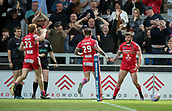 June 4th 2017, AJ Bell Stadium, Salford, Greater Manchester, England;  Rugby Super League Salford Red Devils versus Wakefield Trinity;  Jake Bibby of Salford celebrates his try for Salford