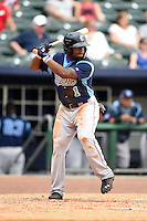 Corpus Christi Hooks outfielder Delino DeShields (1) at bat during a game against the NW Arkansas Naturals on May 26, 2014 at Arvest Ballpark in Springdale, Arkansas.  NW Arkansas defeated Corpus Christi 5-3.  (Mike Janes/Four Seam Images)