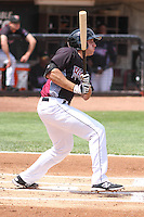 Wisconsin Timber Rattlers third baseman Dustin DeMuth (12) at bat during a Midwest League game against the Kane County Cougars on May 16th, 2015 at Fox Cities Stadium in Appleton, Wisconsin.  Kane County defeated Wisconsin 4-2.  (Brad Krause/Four Seam Images)