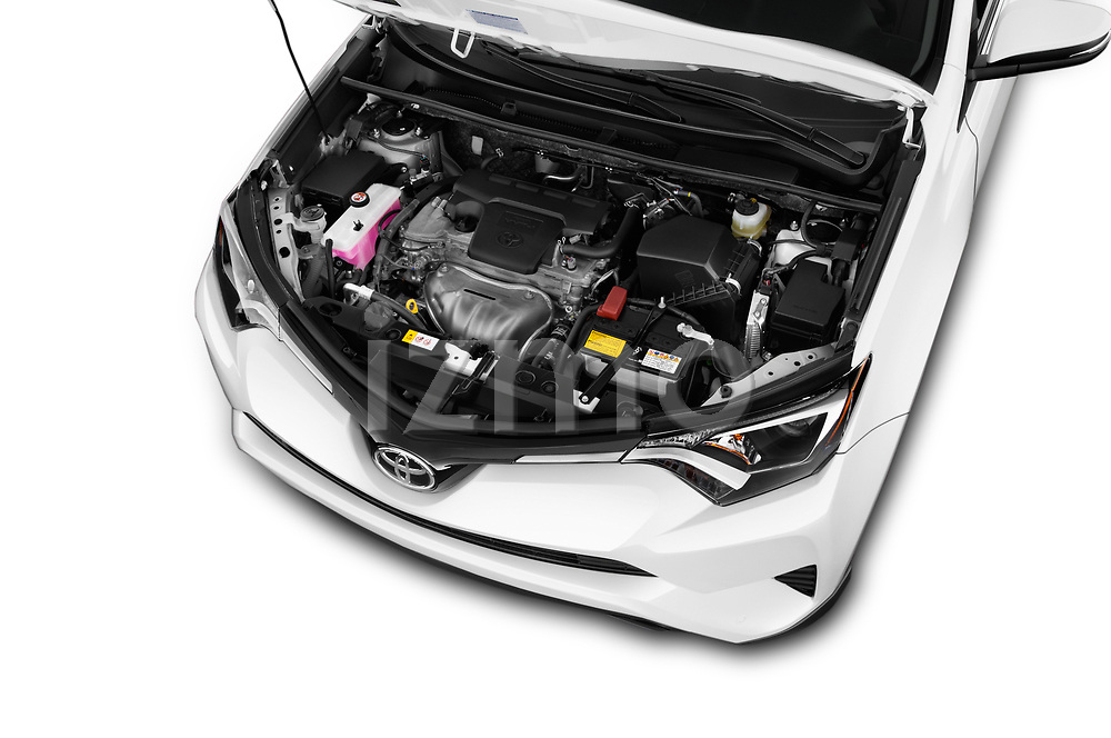 Car stock 2018 Toyota RAV4 LE 5 Door SUV engine high angle detail view