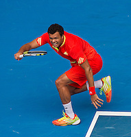 JO-WILFRED TSONGA (FRA) against FREDERICO GIL (POR) in the third round of the Men's Singles. Jo-Wilfred Tsonga beat Frederico Gil 6-2 6-2 6-2..21/01/2012, 21st January 2012, 21.01.2012..The Australian Open, Melbourne Park, Melbourne,Victoria, Australia.@AMN IMAGES, Frey, Advantage Media Network, 30, Cleveland Street, London, W1T 4JD .Tel - +44 208 947 0100..email - mfrey@advantagemedianet.com..www.amnimages.photoshelter.com.