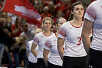 GRAND RAPIDS, MI - NOVEMBER 18: Taylor Brown (3) of Wittenberg University stands for a playing of the national anthem during the Division III Women's Volleyball Championship held at Van Noord Arena on November 18, 2017 in Grand Rapids, Michigan. Claremont-M-S defeated Wittenberg 3-0 to win the National Championship. (Photo by Doug Stroud/NCAA Photos via Getty Images)