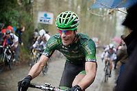 Jimmy Angoulvent (FRA) pushing it up the Taaienberg<br /> <br /> Omloop Het Nieuwsblad 2014