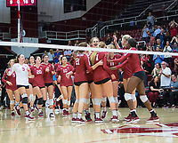 STANFORD, CA - November 3, 2018: Meghan McClure, Sidney Wilson, Jenna Gray, Tami Alade, Kathryn Plummer, Kate Formico, Morgan Hentz, Caitlin Keefe, Mackenzie Fidelak, Payton Chang, Blake Sharp at Maples Pavilion. No. 1 Stanford Cardinal defeated No. 15 Colorado Buffaloes 3-2.