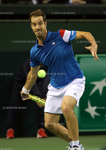 February 3, 2017, Tokyo, Japan - France's Richard Gasquet returns the ball against Japan's Taro Daniel during the Davis Cup World Group First Round tennis match in Tokyo on Friday, February 3, 2017. Gasquet defeated Daniel 6-2, 6-3, 6-2 at the opening game.    (Photo by Yoshio Tsunoda/AFLO) LWX -ytd-