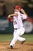 Joel Pineiro #35 of the Los Angeles Angels pitches against the Atlanta Braves at Angel Stadium in Anaheim,California on May 21, 2011. Photo by Larry Goren/Four Seam Images