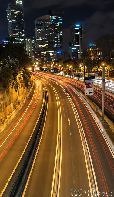 Car light trails on Sydney Express Way, NSW, Australia