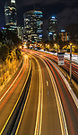 Car light trails on Sydney Express Way, NSW, Australia