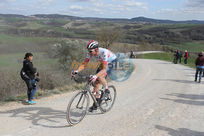 during Strade Bianche 2019 running 184km from Siena to Siena, held over the white gravel roads of Tuscany, Italy. 9th March 2019.<br /> Picture: Eoin Clarke | Cyclefile<br /> <br /> <br /> All photos usage must carry mandatory copyright credit (© Cyclefile | Eoin Clarke)