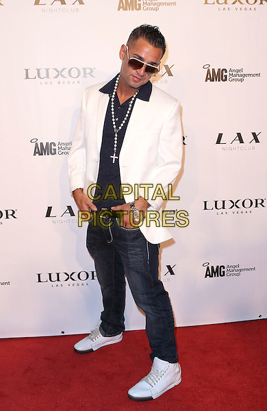 "Mike ""The Situation"" Sorrentino.Mike The Situation Sorrentino celebrates Labor Day Weekend with blowout bash at LAX Nightclub inside Luxor, Las Vegas, NV., USA..September 3rd, 2011.full length jeans denim white suit jacket blue shirt cross crucifix necklace  sunglasses shades .CAP/ADM/MJT.© MJT/AdMedia/Capital Pictures."