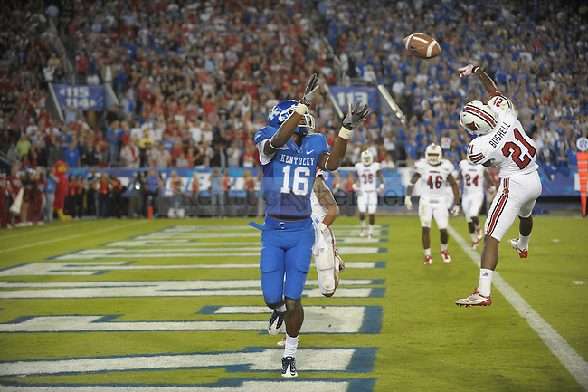 La'Rod King catches a touchdown pass at the end of the second quarter of the University of Kentucky football game against Louisville at Commonwealth Stadium in Lexington, Ky., on 9/17/11. UK trailed the game 10-14 at half. Photo by Mike Weaver | Staff