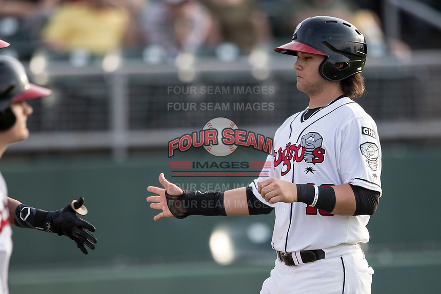 Lansing Lugnuts shortstop Bo Bichette (10) is greeted by a teammate after scoring during the Midwest League baseball game against the Bowling Green Hot Rods on June 29, 2017 at Cooley Law School Stadium in Lansing, Michigan. Bowling Green defeated Lansing 11-9 in 10 innings. (Andrew Woolley/Four Seam Images)