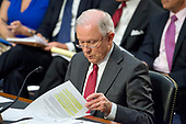 """United States Attorney General Jeff Sessions looks over his prepared statement as he gives testimony before the US Senate Select Committee on Intelligence to  """"examine certain intelligence matters relating to the 2016 United States election"""" on Capitol Hill in Washington, DC on Tuesday, June 13, 2017.  In his prepared statement Attorney General Sessions said it was an """"appalling and detestable lie"""" to accuse him of colluding with the Russians.<br /> Credit: Ron Sachs / CNP<br /> (RESTRICTION: NO New York or New Jersey Newspapers or newspapers within a 75 mile radius of New York City)"""