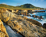 "Montana de Oro State Park. Park gets its name ""Mountain of Gold"" from the many wildflowers that color the coastal hills in spring. 7,828 acres. Geology includes excellent examples of the Monterey Formation, a widespread, thick body of silica-rich rock laid down in Miocene time, approximately 16 to 6 million years ago."