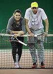 09.12.2014., Croatia, Zagreb - die heute 16 jährige Ana Konjuh (* 27. Dezember 1997 in Dubrovnik) ist eine kroatische Tennisspielerin, die am liebsten auf Hartplätzen spielt, begann im Alter von fünf Jahren mit dem Tennisspielen.<br /> Ihren Durchbruch bei den Mädchen hatte sie 2013 mit Siegen bei den Australian Open und den US Open im Einzel sowie im Doppel bei den Australian Open. Konjuh spielte im Februar 2013 in Eilat gegen Weißrussland erstmals für Kroatien im Fed Cup.<br /> Ihren ersten ITF-Titel gewann sie bei dem mit $25.000 dotierten Turnier in Montpellier im Juni 2013. Obwohl sie noch bei den Junioren spielberechtigt ist, will sie ab der Saison 2014 nur noch Turniere auf der Profitour spielen.[1]<br /> Bei den Australian Open 2014 spielte sie gleich bei ihrer ersten Teilnahme an einem Grand-Slam-Turnier mit drei Siegen eine erfolgreiche Qualifikationsrunde. Im Hauptfeld traf sie dann auf die spätere Siegerin Li Na, der sie mit 2:6 und 0:6 unterlag  Ana and her coach Kristijan Schneider. <br /> <br /> Foto ©  nph / PIXSELL / Igor Kralj
