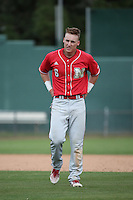 Jake Schleppenbach (6) of the Nebraska Cornhuskers during a game against the Long Beach State Dirtbags in the first game of a doubleheader at Blair Field on March 5, 2016 in Long Beach, California. Long Beach State defeated Nebraska, 1-0. (Larry Goren/Four Seam Images)