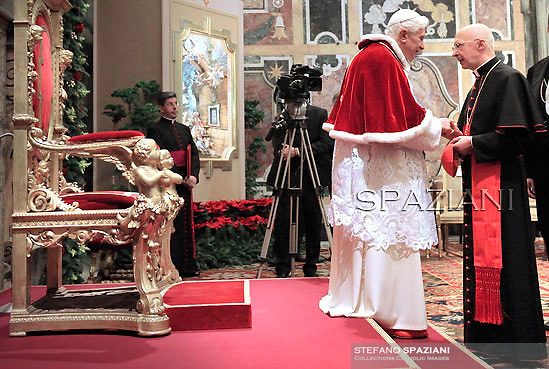 Pope Benedict XVI Cardinal Angelo Bagnasco during the audience to the Curia for Christmas greetings, in the Sala Clementina of the Apostolic Palace, in the Vatican City, 22 December 2011