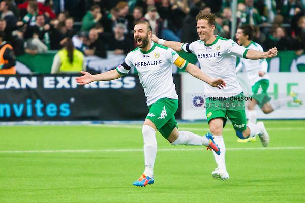 Stockholm 2014-11-02 Fotboll Superettan Hammarby IF - J&ouml;nk&ouml;pings S&ouml;dra IF :  <br /> Hammarbys Kennedy Bakircioglu firar sitt 1-0 m&aring;l under matchen mellan Hammarby IF och J&ouml;nk&ouml;pings S&ouml;dra IF <br /> (Foto: Kenta J&ouml;nsson) Nyckelord:  Superettan Tele2 Arena Hammarby HIF Bajen J&ouml;nk&ouml;ping S&ouml;dra IF J-S&ouml;dra jubel gl&auml;dje lycka glad happy