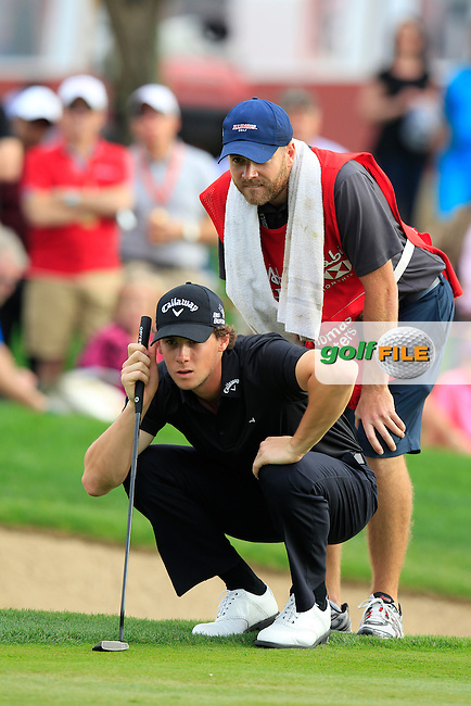 Thomas Pieters (BEL) at the 13th green during Sunday's Final Round of the Abu Dhabi HSBC Golf Championship 2015 held at the Abu Dhabi Golf Course, United Arab Emirates. 18th January 2015.<br /> Picture: Eoin Clarke www.golffile.ie