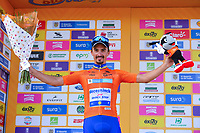 LA UNION - COLOMBIA, 16-02-2019: Julian ALAPHILIPPE (FRA), Deceuninck - Quick Step Floors, celebra como líder general después de la la quinta etapa del Tour Colombia 2.1 2019 con un recorrido de 176.8 Km, que se corrió con salida y llegada en La Union, Antioquia. / Julian ALAPHILIPPE (FRA), Deceuninck - Quick Step Floors, celebrates as overal leader after of the fifth stage of 176.8 km of Tour Colombia 2.1 2019 that ran with start and arrival in La Union, Antioquia.  Photo: VizzorImage / Eder Garces / Fedeciclismo Prensa / Cont