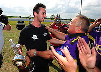 Apr. 29, 2012; Baytown, TX, USA: NHRA pro stock driver Vincent Nobile (left) celebrates with father John Nobile after winning the Spring Nationals at Royal Purple Raceway. Mandatory Credit: Mark J. Rebilas-