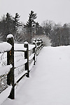 18 January 2008: Fresh snow covers a wood fence, and trees and the landscape at Shelburne Farms, in Shelburne, Vermont, USA...Mandatory Photo Credit: Ed Wolfstein Photo
