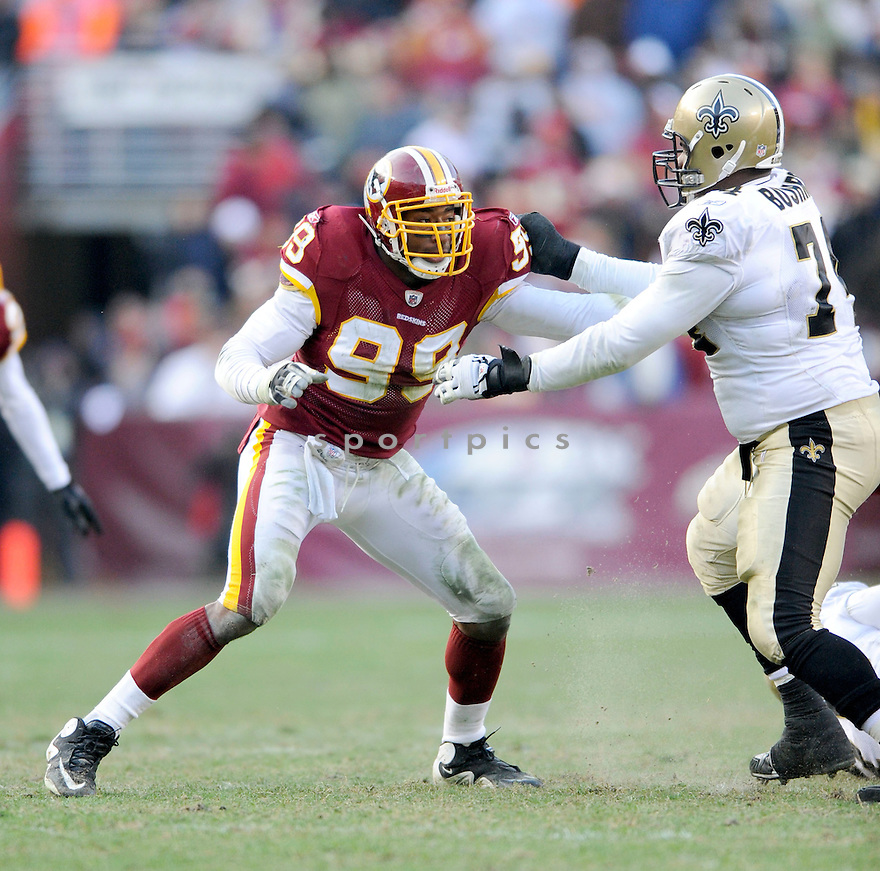 ANDRE CARTER, of the Washington Redskins, in action during the Redskins game against the New Orleans Saints on December 6, 2009 in Landover, MD. Saints won 33-30 in overtime.