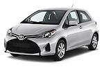 2015 Toyota Yaris LE 3-Door Liftback AT 3 Door Hatchback Angular Front stock photos of front three quarter view
