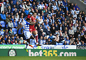 9th September 2017, Madejski Stadium, Reading, England; EFL Championship football, Reading versus Bristol City; Aden Flint of Bristol City and Tyler Blackett of Reading compete in the air