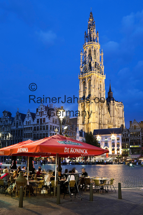 Belgium, Antwerp: Evening cafe scene in the Grote Markt outside the Cathedral
